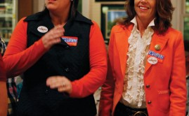Hillary Davis Griffith (left) and Susan Allen campaign for Morgan Griffith at the Fridajy Night Jamboree